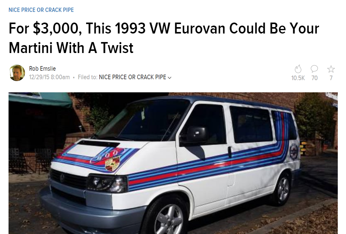 Jalopnik's 2015 story on a Eurovan for sale