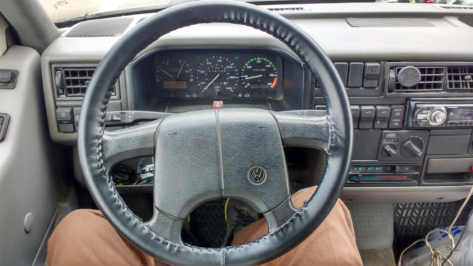 Leather steering wheel wrap